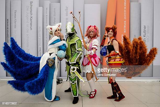 Cosplayer pose for a photo during the Leipzig Book Fair 2016 on March 18, 2016 in Leipzig, Germany. From March 17 to March 20 more than 2000...
