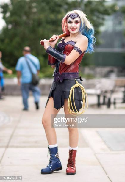 A cosplayer poses as a Harley Quinn Wonder Woman outside the 2018 New York Comic Con on October 6 2018 in New York City