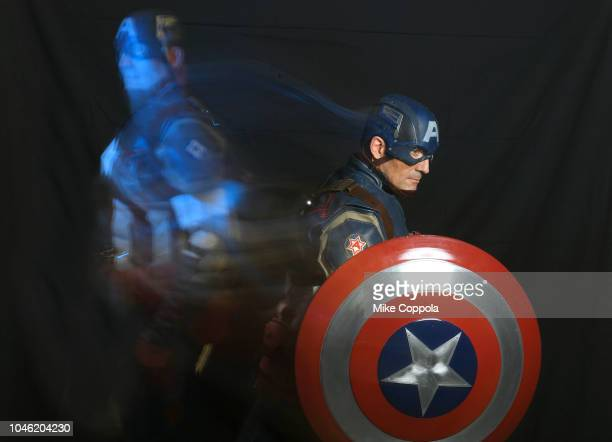 A cosplayer poses as Captain America during New York Comic Con 2018 at Javits Center on October 4 2018 in New York City