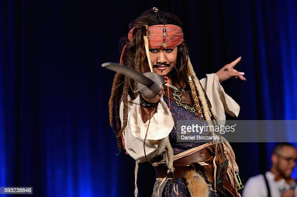 Cosplayer poses as Captain Jack Sparrow during Wizard World Comic Con Chicago 2016 Day 3 at Donald E Stephens Convention Center on August 20 2016 in...