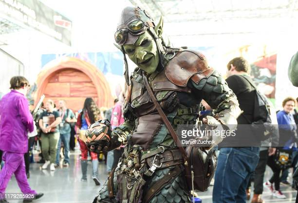A cosplayer poses as Green Goblin during New York Comic Con 2019 on October 05 2019 in New York City