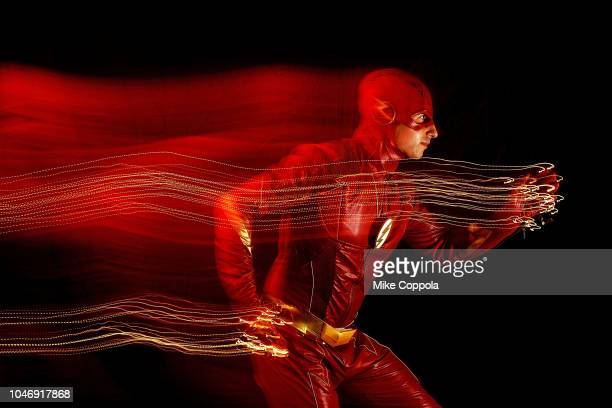 A cosplayer poses as The Flash during New York Comic Con 2018 at Javits Center on October 6 2018 in New York City