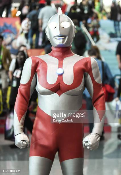 Cosplayer poses as Ultraman during New York Comic Con 2019 on October 04, 2019 in New York City.