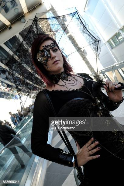A cosplayer poses during a cosplay contest at the Romics event a comic book and gaming convention on October 7 2017 in Rome Romics is the largest...