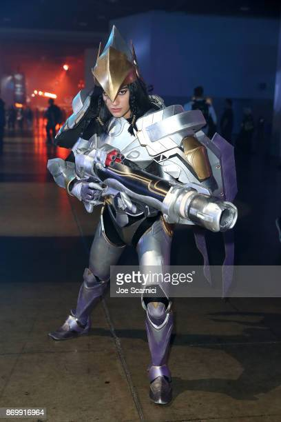 A cosplayer poses for a photo at BlizzCon 2017 at Anaheim Convention Center on November 3 2017 in Anaheim California BlizzCon is the site of the...