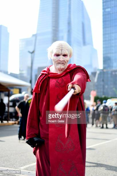 A cosplayer poses for a photo during New York Comic Con 2018 at Jacob K Javits Convention Center on October 4 2018 in New York City