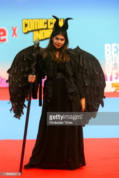 Cosplayer poses for a photograph during the Delhi Comic Con 2019, at NSIC Exhibition ground, Okhla on December 20, 2019 in New Delhi, India.