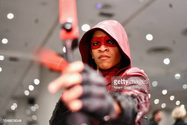 A cosplayer poses for a photol during New York Comic Con at Jacob Javits Center on October 6 2018 in New York City