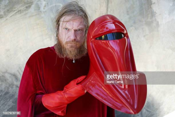 A cosplayer poses while dressed as a Star Wars imperial guard outside San Diego ComicCon on July 20 2018 in San Diego California More than 100000...