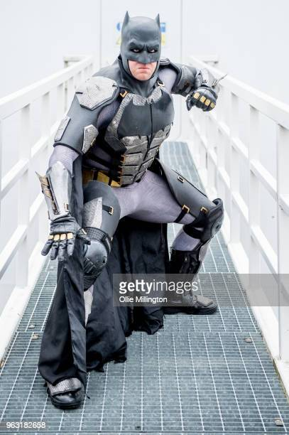 Cosplayer seen in character as Batman from The Justice League on Day 3 of of the MCM London Comic Con 2018 at ExCel on May 27, 2018 in London,...