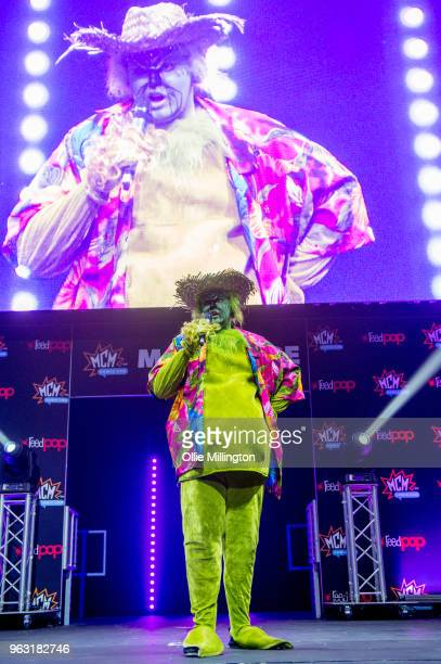 A cosplayer seen in character as The Grinch on Day 3 of of the MCM London Comic Con 2018 at ExCel on May 27 2018 in London England
