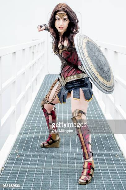 A cosplayer seen in character as Wonder Woman day of the MCM London Comic Con 2018 at ExCel on May 27 2018 in London England