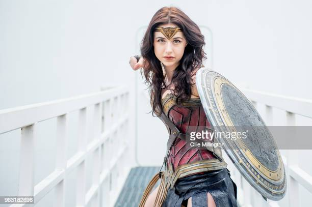 Cosplayer seen in character as Wonder Woman day of the MCM London Comic Con 2018 at ExCel on May 27, 2018 in London, England.