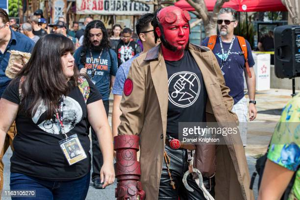 Cosplayer Thomas Carrillo as Hellboy makes his way towards 2019 ComicCon International on July 19 2019 in San Diego California