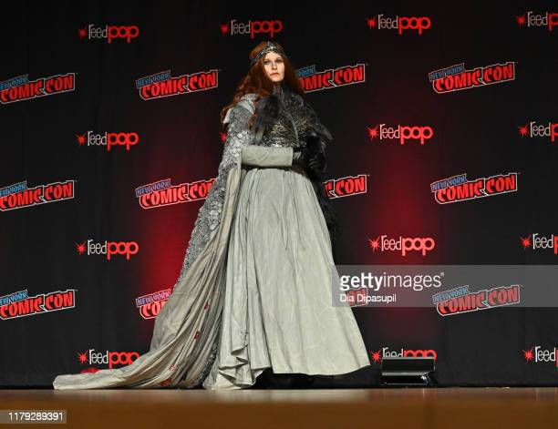 A cosplayer walks onstage during the NYCC Championships of Cosplay Presented by Singer at New York Comic Con 2019 Day 3 at Jacob K Javits Convention...