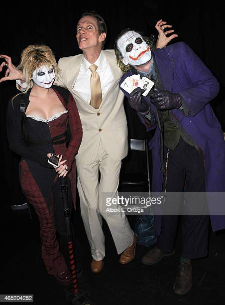 Cosplayer Zoey Garcia as Harley Quinn actor Doug Jones and cosplayer Jesse Oliva as Joker at the 2015 Saturn Award Nominations for the 41st Annual...