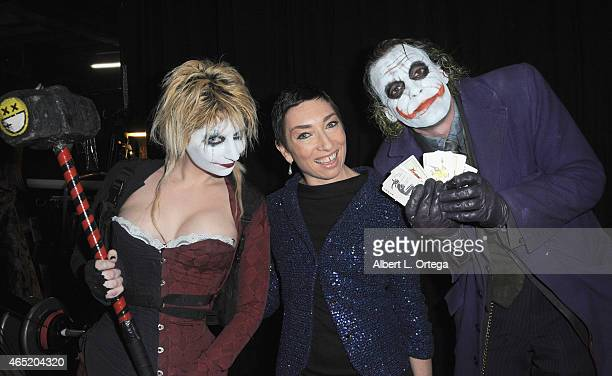 Cosplayer Zoey Garcia as Harley Quinn actress Naomi Grossman and cosplayer Jesse Oliva as Joker at the 2015 Saturn Award Nominations for the 41st...