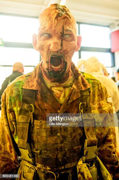 A cosplayer Zombie during the MCM Birmingham Comic Con at NEC Arena on March 19 2017 in Birmingham England
