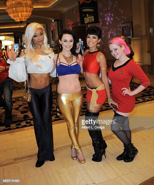 Cosplayers Alicia Marie Megan Golden Joanie Brosas and Ariel Nicole at the 14th annual official Star Trek convention at the Rio Hotel Casino on...