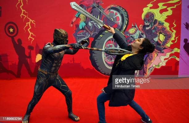 Cosplayers are seen during the Delhi Comic Con 2019, at NSIC Exhibition ground, Okhla on December 20, 2019 in New Delhi, India.