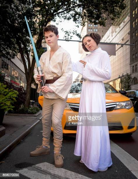Cosplayers are seen on the streets of New York City during New York Comic Con on October 5 2017 in New York City