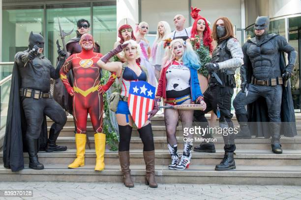 Cosplayers as Batman The Flash Poison Ivy Captain America Harley Quinn Harley Quinn Harley Quinn Puppet Master Poisin Ivy The Winter Soldier and...