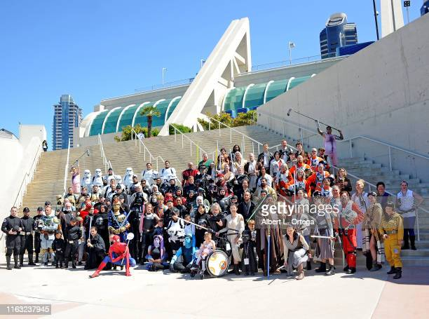 Cosplayers attend 2019 Comic-Con International on July 20, 2019 in San Diego, California.