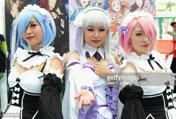 Cosplayers attend day 1 of Anime Expo 2018 at the Los Angeles Convention Center on July 5 2018 in Los Angeles California