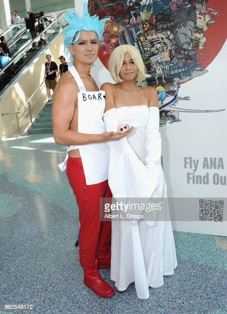 Cosplayers attend day 1 of Anime Expo 2018 held at the Los Angeles Convention Center on July 5 2018 in Los Angeles California