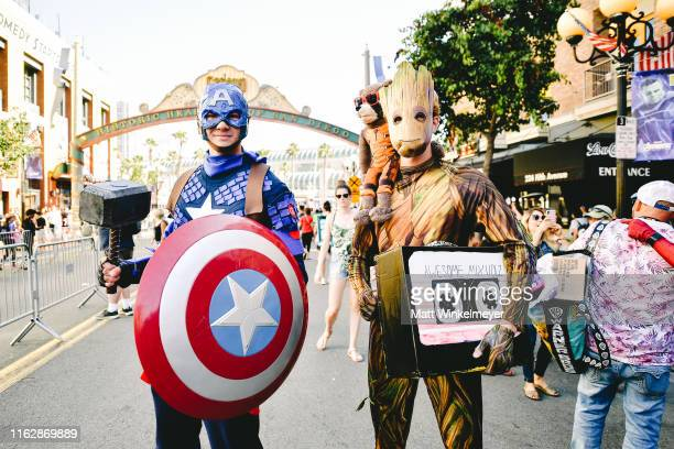 Cosplayers attend the 2019 Comic-Con International on July 18, 2019 in San Diego, California.