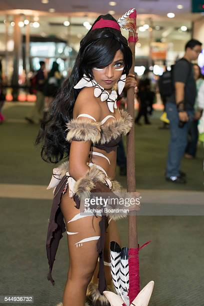 Cosplayers attend the Anime Expo 2016 at Los Angeles Convention Center on July 03 2016 in Los Angeles California