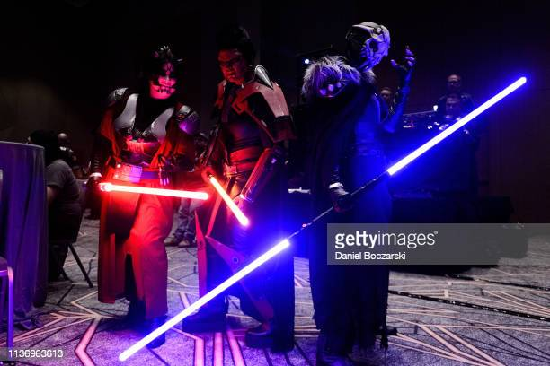 """Cosplayers attend the """"Star Wars: The Old Republic"""" event during Star Wars Celebration at McCormick Place Convention Center on April 11, 2019 in..."""