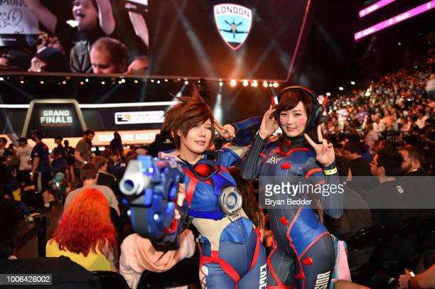 Cosplayers attends Overwatch League Grand Finals Day 1 at Barclays Center on July 27 2018 in New York City