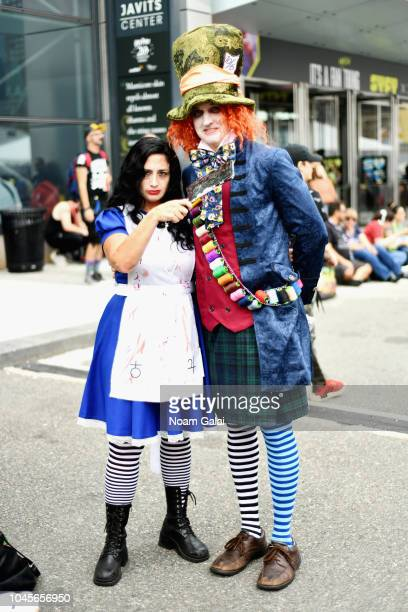 Cosplayers dressed as American McGee's Alice and Disney's Mad Hatter during New York Comic Con 2018 at Jacob K Javits Convention Center on October 4...