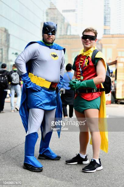 Cosplayers dressed as Batman and Robin during New York Comic Con 2018 at Jacob K. Javits Convention Center on October 4, 2018 in New York City.