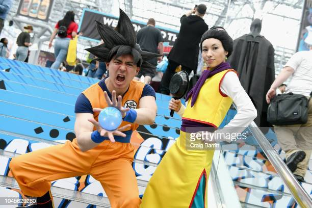 Cosplayers dressed as Dragon Ball characters during New York Comic Con 2018 at Jacob K Javits Convention Center on October 4 2018 in New York City