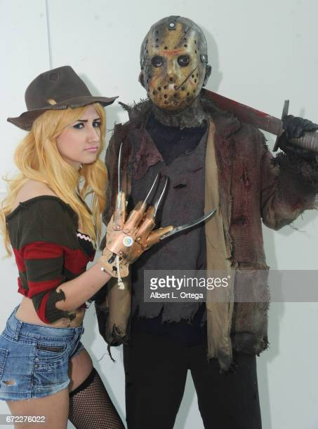 Cosplayers dressed as Freddy Kreuger and Jason Voorhees on day 3 of Silicon Valley Comic Con 2017 held at San Jose Convention Center on April 22 2017...