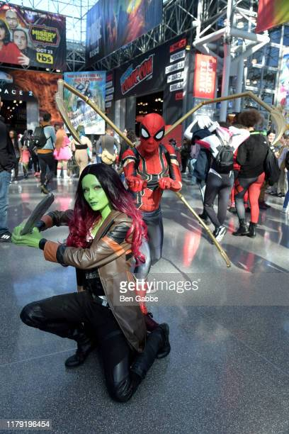 Cosplayers dressed as Gamora and Spidermand attend New York Comic Con 2019 Day 3 at Jacob K. Javits Convention Center October 05, 2019 in New York...