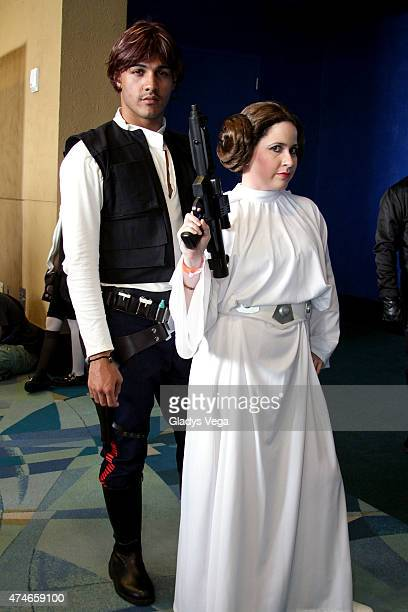 Cosplayers dressed as Han Solo and Princess Leia from Star Wars during Puerto Rico Comic Con at the Puerto Rico Convention Center on May 24 2015 in...