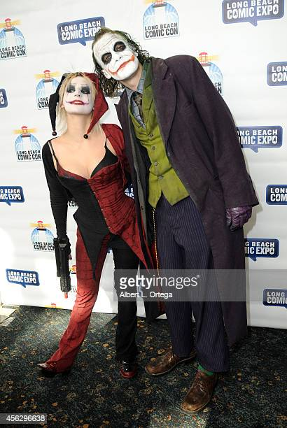Cosplayers dressed as Harley Quinn and Joker at The Long Beach Comic Con held at the Long Beach Convention Center on September 27 2014 in Long Beach...