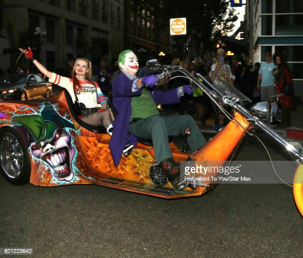 Cosplayers dressed as Harley Quinn and The Joker are seen on July 22 2017 at Comic Con in San Diego CA
