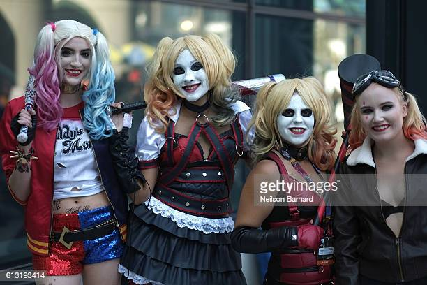 Cosplayer's dressed as Harley Quinn attend the New York Comic Con 2016 at The Jacob K Javits Convention Center on October 7 2016 in New York City New...