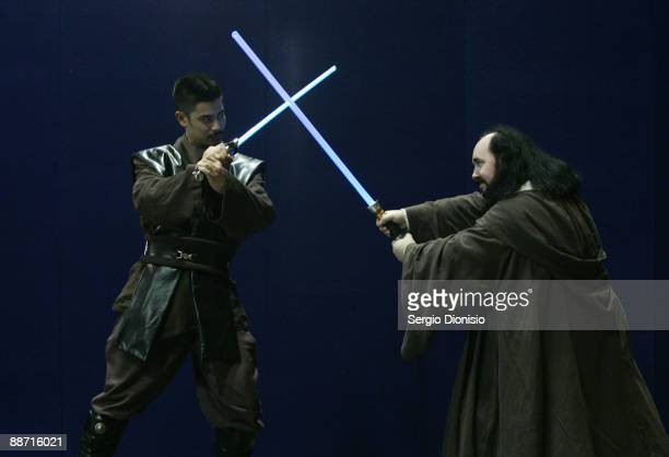 Cosplayers dressed as Jedi Knights role play backstage ahead of the Sydney round of the Madman National Cosplay Championships which take place as...