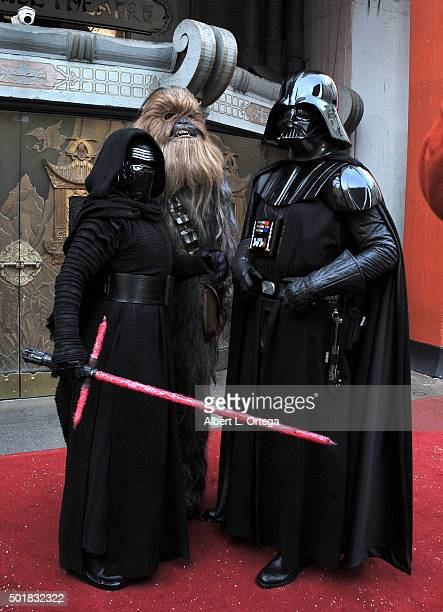 Cosplayers dressed as Kylo Ren Chewbacca and Darth Vader at the Star Wars wedding of fans Andrew Porters and Caroline Ritter held in the forecourt of...
