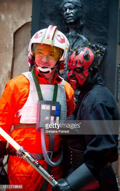 Cosplayers dressed as Luke Skywalker and Darth Maul of Star Wars attend Comic Con Liverpool 2020 on March 08, 2020 in Liverpool, England.