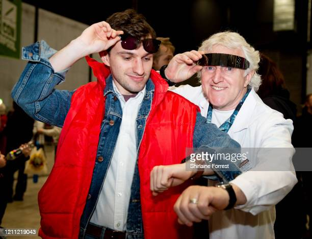 Cosplayers dressed as Marty McFly and Doc Brown from Back To The Future attend Comic Con Liverpool 2020 on March 08 2020 in Liverpool England