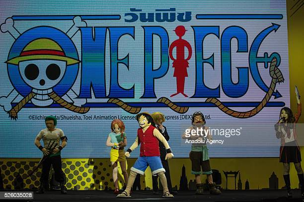 Cosplayers dressed as One Piece characters are seen during the Bangkok Comic Con 2016 Festival at Bitec Exhibition Centre in Bangkok Thailand on...