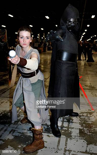 Cosplayers dressed as Rey and Kylo Ren of Star Wars The Force Awakens attend Film Comic Con Manchester at Event City on May 21 2016 in Manchester...