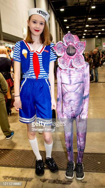 Cosplayers dressed as Robin Buckley and Demogorgon from Stranger Things attend Comic Con Liverpool 2020 on March 08, 2020 in Liverpool, England.