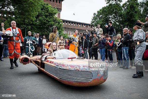 Cosplayers dressed as Star Wars characters attend the Star Wars Day event on May 3 2015 in Milan Italy